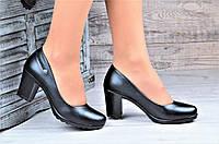 Туфли женские на каблуке и небольшой платформе черные популярные (Код: Ш1096а)