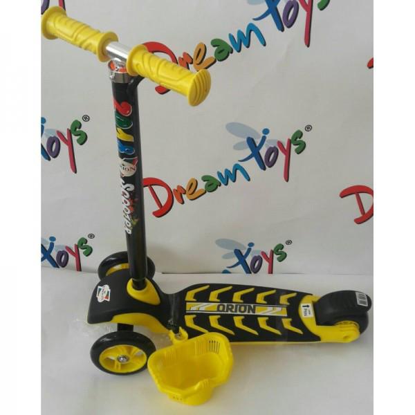 Самокат скутер трехколесный с корзинкой и большим рулем Лимонный Орион