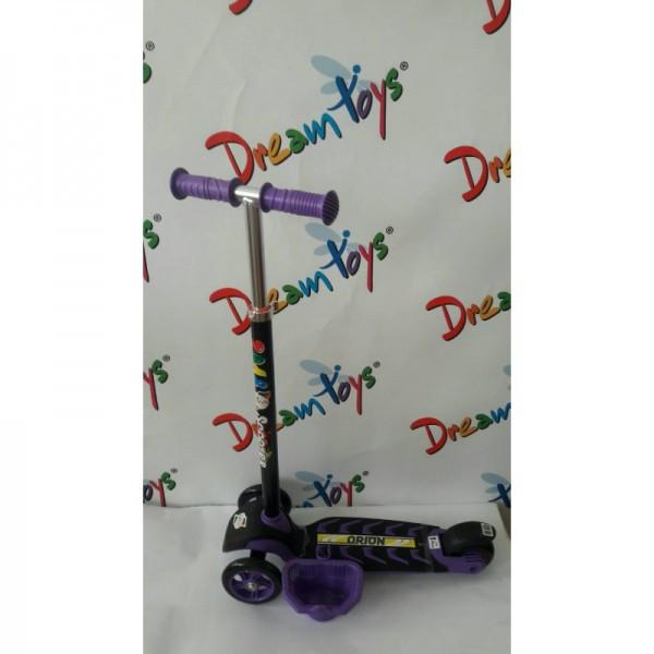 Самокат скутер трехколесный с корзинкой и большим рулем Фиолетовый Орион