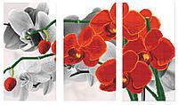 """Схема для вышивки бисером """"Орхидея красная"""", триптих"""