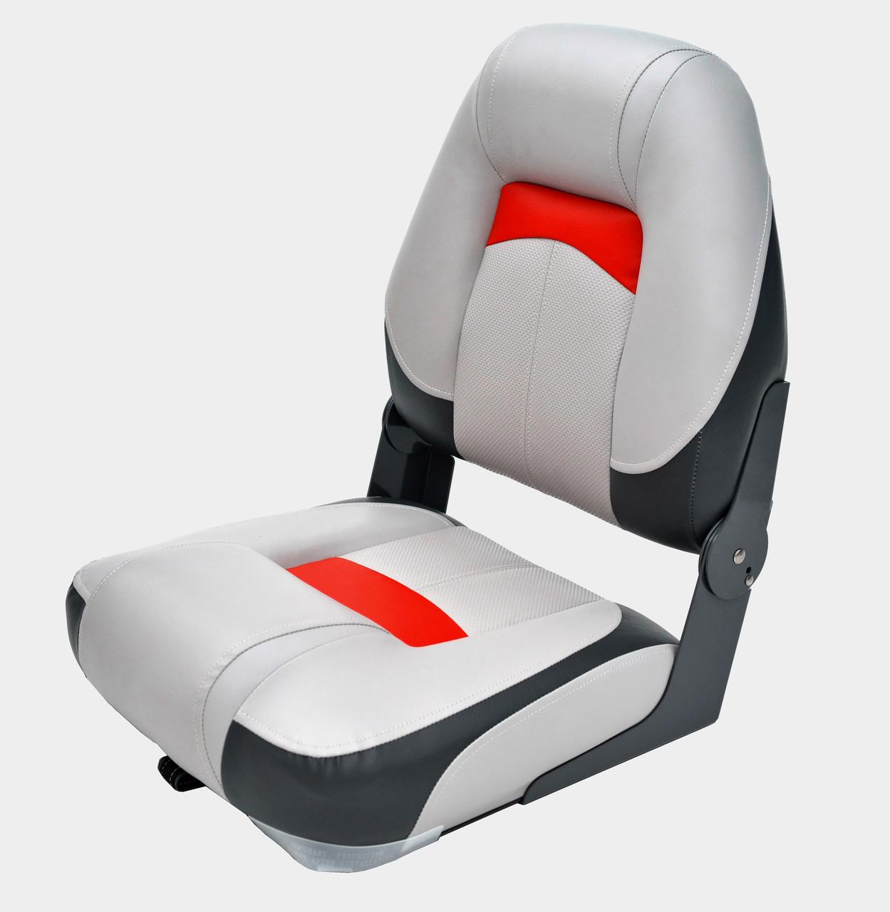 Сиденье NewStar Premium мягкое с высокой спинкой складное Серый/Уголь/Красный