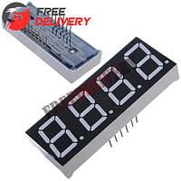 """4-разрядный 7-сегментный индикатор 0.56"""" красный 12pin катод Arduino"""