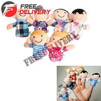 6x Мягкая игрушка на палец, семейка, кукольный театр