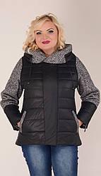 Куртка с твидовыми вставками черная