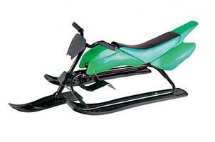 """Детский снегоход """"Спорт Люкс"""" SB-Sled-07 зеленый с ножным тормозом (санки с рулем) ТМ Kidigo"""