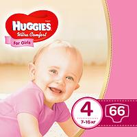 Подгузники Huggies Ultra Comfort 4 (7-16 кг) для девочек Mega Pack 66шт.