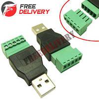 Переходник USB 2.0 Type-A штекер папа – клеммники 5pin