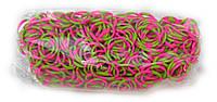 Многоцветные резинки  для плетения Rainbow loom Розово-зеленые