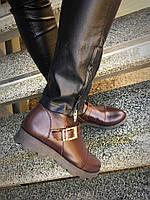 Демисезонные кожаные ботинки с пряжкой