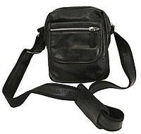 Городская мужская сумка кожаная Vip Collection 1429A flat черная