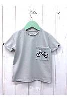 Модная детская футболка светло-серого цвета с принтом велосипед. Размеры: 92-116