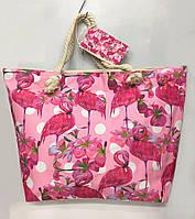 """Пляжная сумка 2880 """"Розовый фламинго"""" женская летняя текстильная ручки канаты 57 см х 40 см х 20 см"""