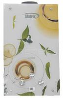 """Газовий проточний водонагрівач Matrix принт """"білий чай"""" (стекло) - 10 л\мин"""