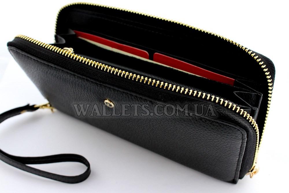 32f8a6fe4269 Кошелек женский кожаный SALFEITE черный на молнии - Интернет-магазин  «Wallets» в Белой
