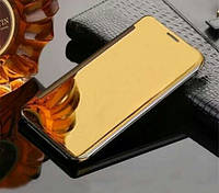 Чехол книжка для Iphone 7 Plus зеркальный золотой флип на айфон 7 плюс