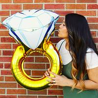 Фольгированный Шар Колечко 80см, воздушный шар кольцо с бриллиантом
