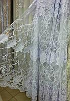 """Тюль с вышивкой белая фатин """"Анабель"""", фото 1"""