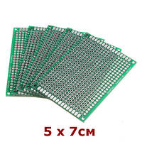 PCB макетная монтажная плата 5х7см Текстолит