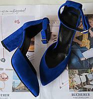Mante! Женские замшевые босоножки  каблук 10 см электрик замш, фото 1