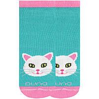 Детские короткие носки с котиком, Duna, морская волна, 20-22 (31-34)
