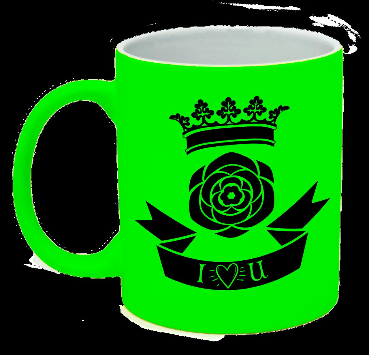 """Неоновая матовая чашка """"I love you"""", ярко-зеленая"""