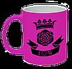 "Неоновая матовая чашка ""I love you"", ярко-розовая"