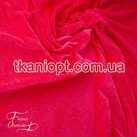Ткань Велюр стрейч (неон-коралловый)