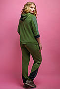 Женский летний спортивный костюм Кэри, цвет хаки / размер 54,56,58,64 / большие размеры, фото 2