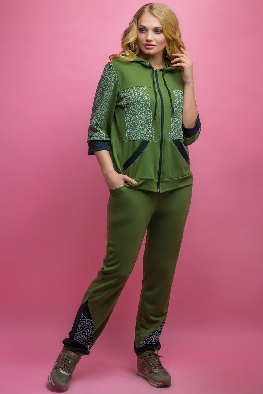 Женский летний спортивный костюм Кэри, цвет хаки / размер 54,56,58,64 / большие размеры