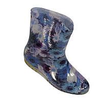"""Сапоги резиновые силиконовые женские """"Пионы на голубом"""", фото 1"""