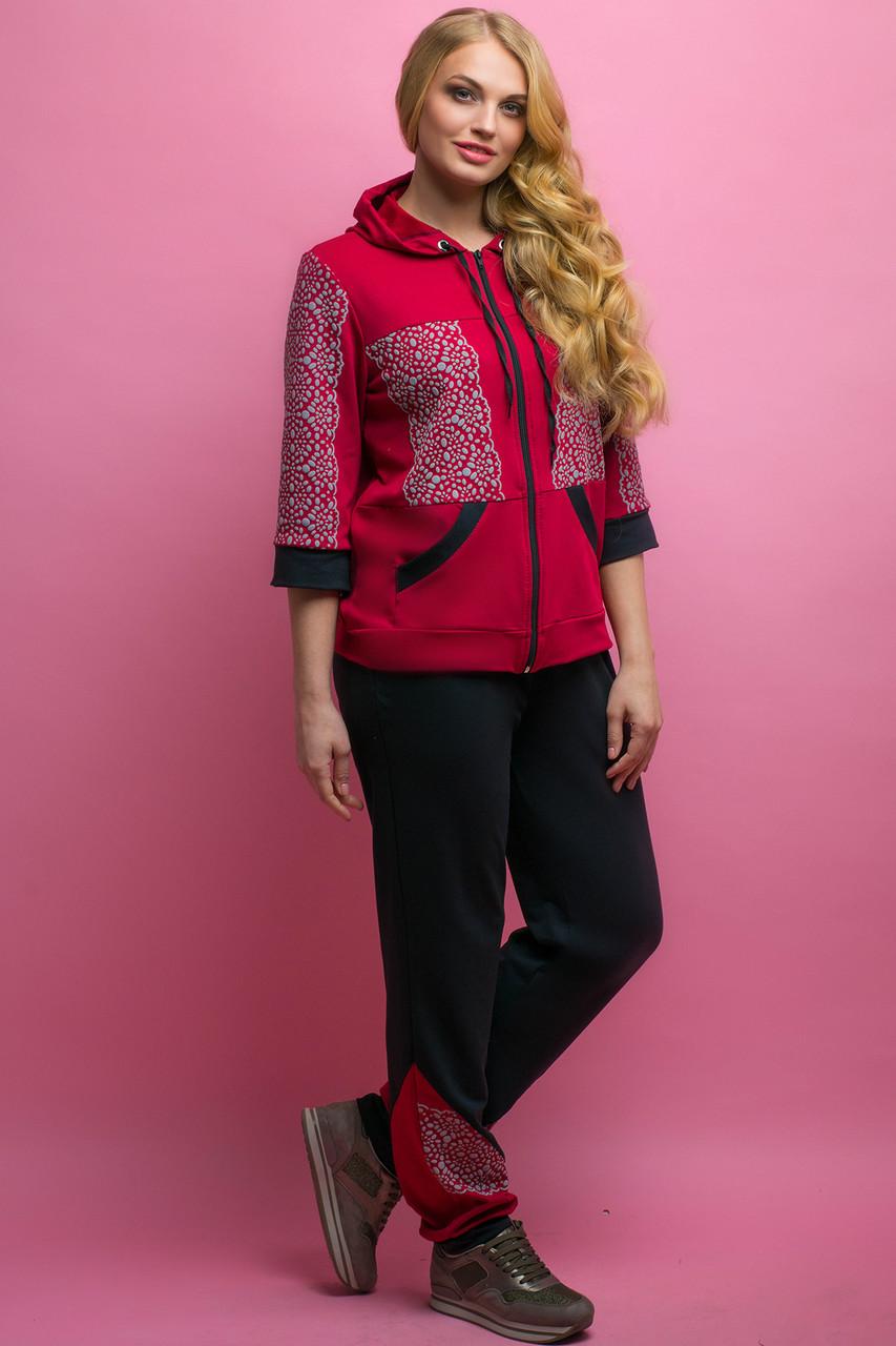 Женский летний спортивный костюм Кэри, цвет бордо / размер 64 / большие размеры