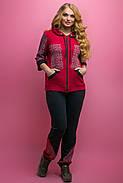 Женский летний спортивный костюм Кэри, цвет бордо / размер 64 / большие размеры, фото 2