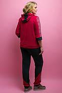 Женский летний спортивный костюм Кэри, цвет бордо / размер 64 / большие размеры, фото 4