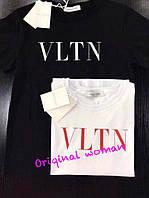 Футболка с надписью VLTN накатка черная и белая