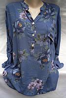 Блуза из штапеля с цветочным принтом женская батальная, фото 1