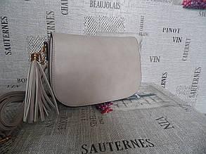 Серо-бежевая женская сумка-клатч