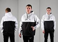 Комплект Анорак черно-белый + штаны черные, Nike, мужской черный весенний, фото 1