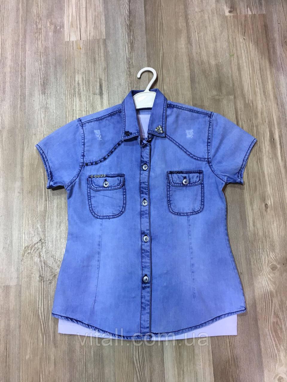 Рубашка двойка джинсовая 8-12 лет для девочки
