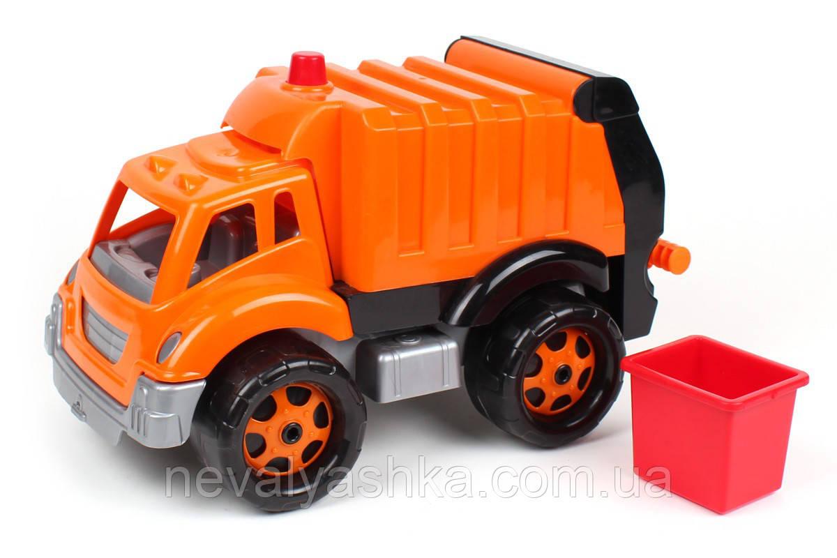 Машинка Мусоровоз ТехноК 35 см мусорный контейнер, пластик, в сетке 1752, 011170, фото 1