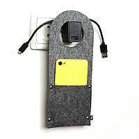 Карман д/зарядки телеф.на заклепке Digital Wool (Classic) серый