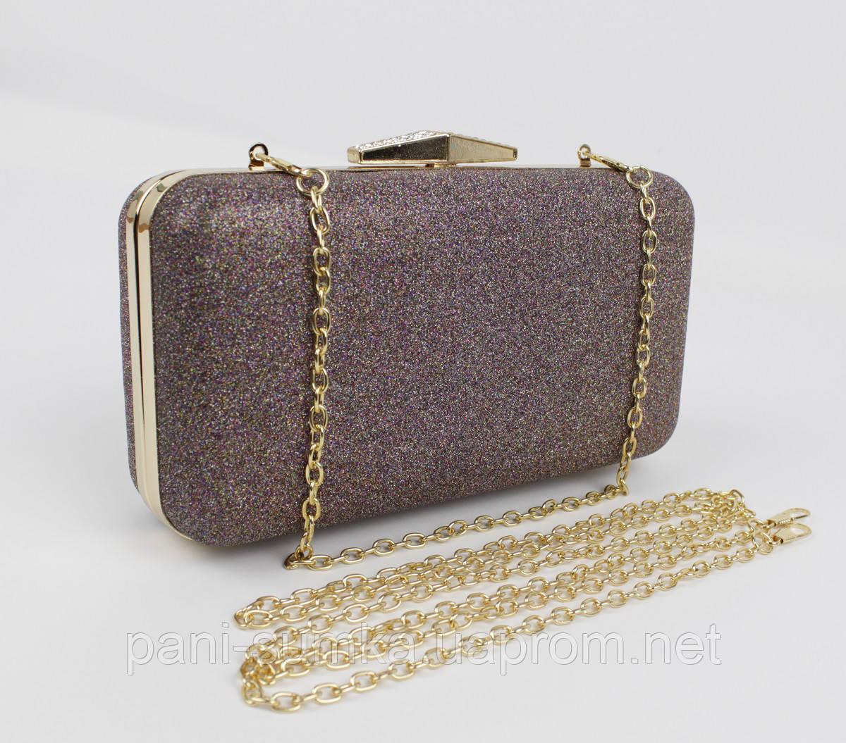Вечірній клатч Rose Heart 09829 bronze з блискітками, сумочка на ланцюжку