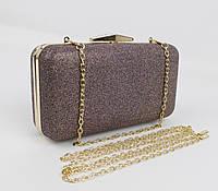 Вечерний клатч Rose Heart 09829 bronze с блестками, сумочка на цепочке, фото 1