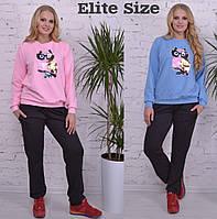 Стильный спортивный костюм большого размера с нашивкой пайетки ТМ Elite Size  р46-58, фото 1