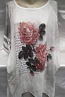Блуза (блузон) с розами/ надписями женская батальная, фото 1