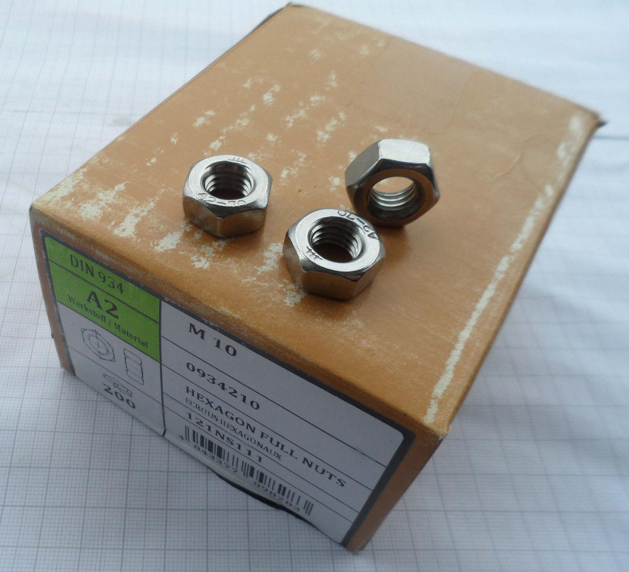 Гайка М27 шестигранная ГОСТ 5915-70, DIN 934 из нержавеющей стали А2