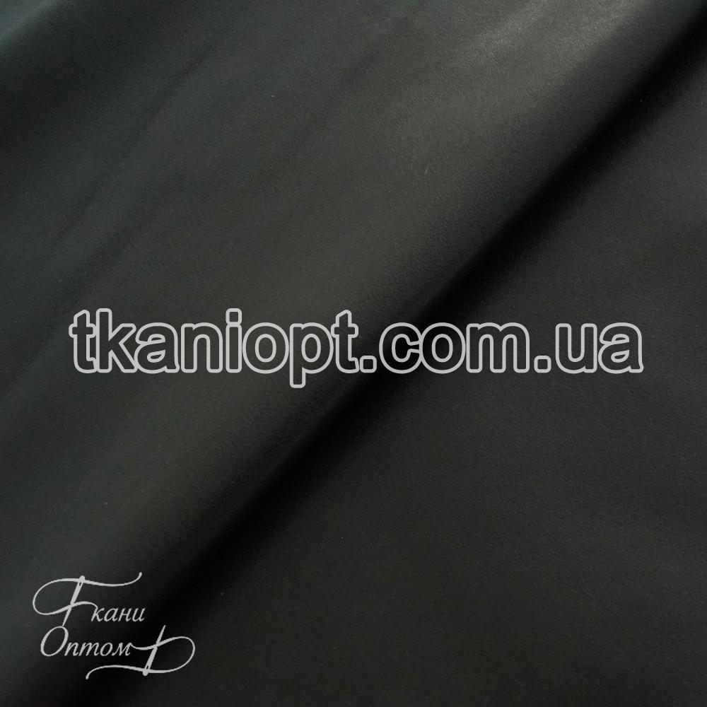Ткань Стрейчевый кожзам на флисе (черный)