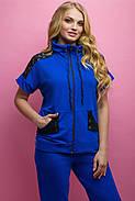 Женский костюм летний комбинированный с гипюром Калипса, цвет электрик / размер 52-64 / большие размеры, фото 2