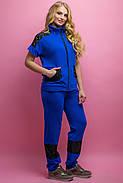 Женский костюм летний комбинированный с гипюром Калипса, цвет электрик / размер 52-64 / большие размеры, фото 3