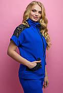 Женский костюм летний комбинированный с гипюром Калипса, цвет электрик / размер 52-64 / большие размеры, фото 4
