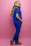 Женский костюм летний комбинированный с гипюром Калипса, цвет электрик / размер 52-64 / большие размеры, фото 5